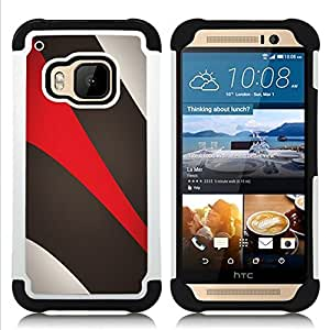 - Khaki Beige Red - - Doble capa caja de la armadura Defender FOR HTC ONE M9 RetroCandy