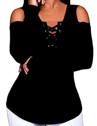 881ea096 Imagine Women's Club Cold Shoulder Blouses Sexy Lace Up Deep V Neck Criss  Cross Long Sleeve