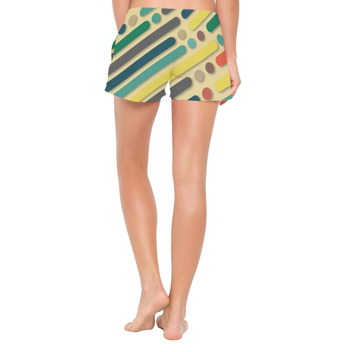 Abstract Stripes Dots Womens Sport Beach Swim Shorts Board Shorts Swimsuit with Mesh Lining
