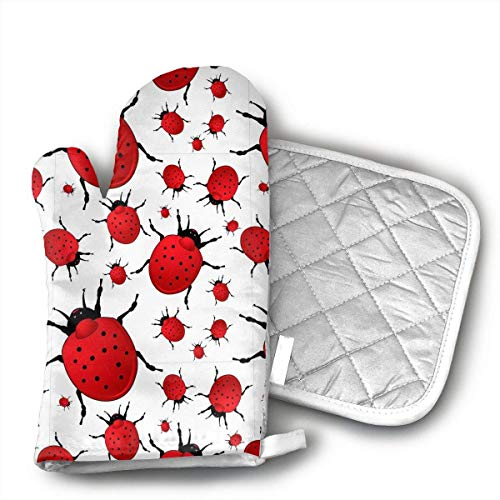 Star Ladybug Oven Mitts and Pot Holders Set with Polyester Cotton Non-Slip Grip, Heat Resistant, Oven Gloves for BBQ Cooking Baking, Grilling (Mitt Oven Ladybug)