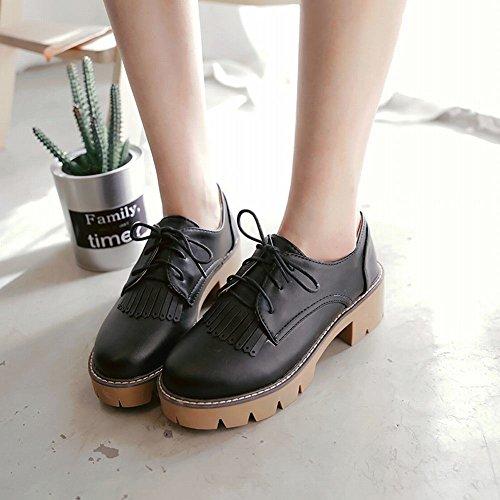 Latasa Mujeres Tassel Lace-up Chunky Oxford Zapatos Black