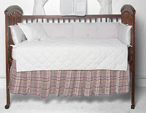 (Patch Magic Red Lines and Off White Plaid Fabric Dust Ruffle Crib)