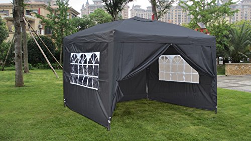 MCombo EZ Pop Up Wedding Party Tent Folding Gazebo Camping Canopy with Sides, Black, 10′ x 10′