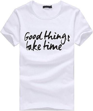 waotier Camiseta De Manga Corta para Hombre Ropa Blanca con Texto Good Things Take Time Ropa De Hombre Camiseta De Verano: Amazon.es: Ropa y accesorios