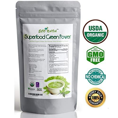 ECO NAVA - Strawberry Matcha Green Tea Powder - Certified USDA Organic - GMO-FREE - 100% Natural - Premium Grade Matcha Tea Powder for Making Cake, Smoothie, Latte & Baking - 50g / 2oz Bag
