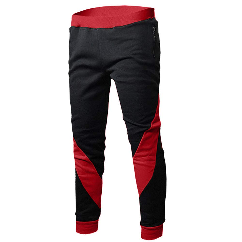 Men's Sport Fitness Leggings,Males Casual Yoga Athletic Pants Patchwork Skinny Trousers by Cobcob