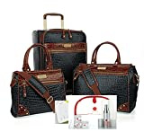 Samantha Brown 12 Piece Classic Croco Luggage 21'' Upright, Dowel Bags,Plus Extras~Black