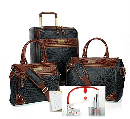 Samantha Brown 12 Piece Classic Croco Luggage 21'' Upright, Dowel Bags,Plus Extras~Black by Samantha Brown