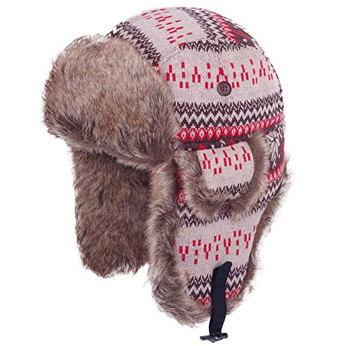 Original One Winter Outdoor Russian Trooper Trapper Cossack Ushanka Hunting Hat Faux Fur Ear Flap Chin Strap (Brown, L)