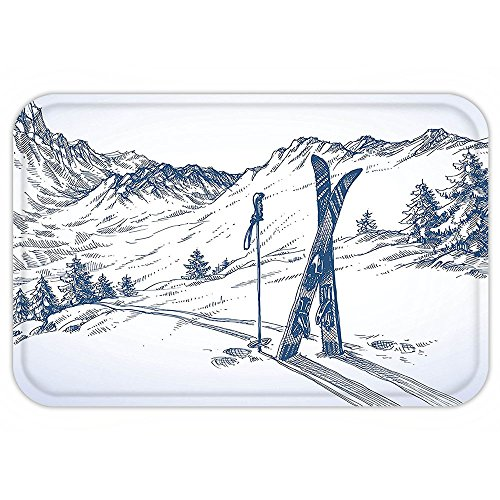 Twister Mat Halloween Costume (VROSELV Custom Door MatWinterDecoration Sketchy Graphic of a Downhill with Ski Elementin Snow Relax Calm View Blue White)