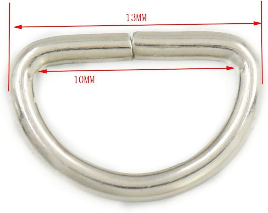 fujiyuan 200/pcs Non soud/é m/étallique Plat D Dee Bagues Anneaux en D 3//20,3/cm 10/mm en Toile D Boucles Sac Nickel