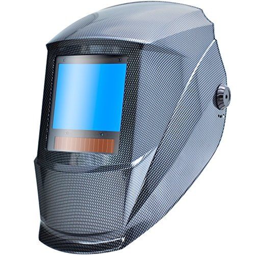 Antra AH7-X90-001X TOP Optical Class 1/1/1/1 Digital Controlled Solar Powered Auto Darkening Welding Helmet Wide Shade 4/5-9/9-13 With Grinding Feature Extra Lens CoversGreat for TIG, MIG, MMA, Plasma by Antra