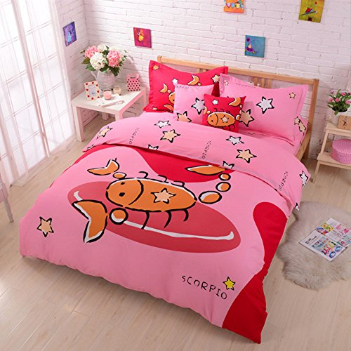 100% Cotton Cute Style Cartoon Bedding Set Twelve Constellation Printed Duvet Cover Set The Zodiac Duvet Cover Flat Sheet with Pillow Shame,No Comforter,Full Size (Scorpio,#3)