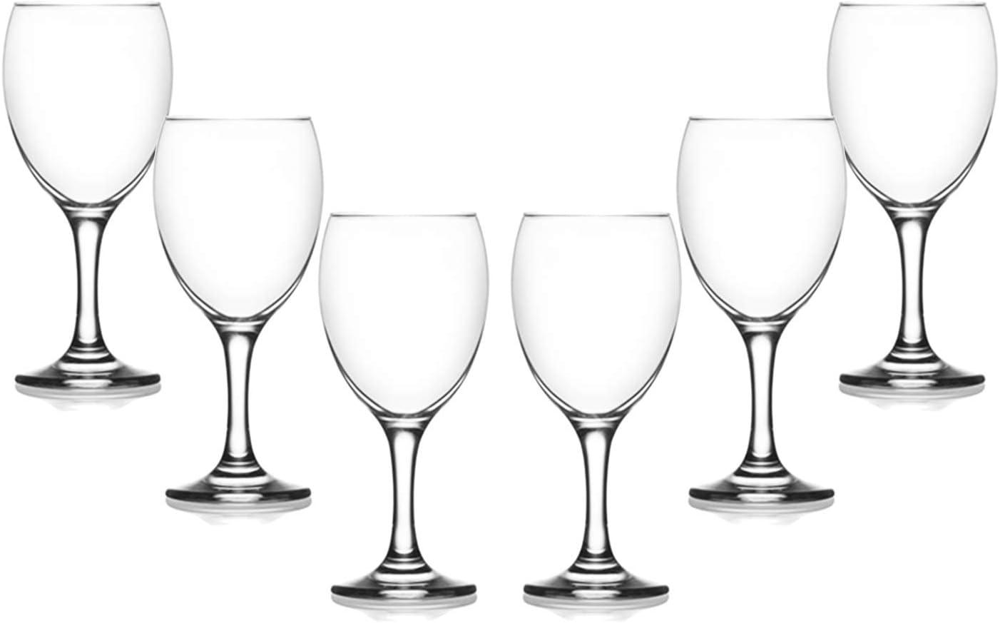 Empire Stemmed Wine Glasses 11.5 Oz, Modern Crystal Clear Goblets Set of (6)