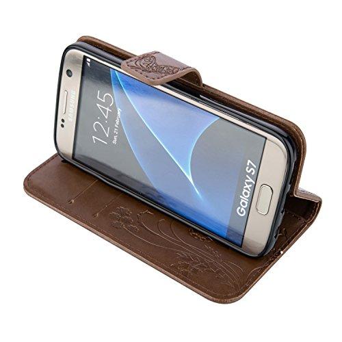 JIALUN-Personality teléfono shell Funda Galaxy Note 5 de Samsung Galaxy, Estuche retro de folio con caja de folletos y correa para la mano Funda protectora de Shell para Samsung Galaxy NOTA 5 Segurida Brown