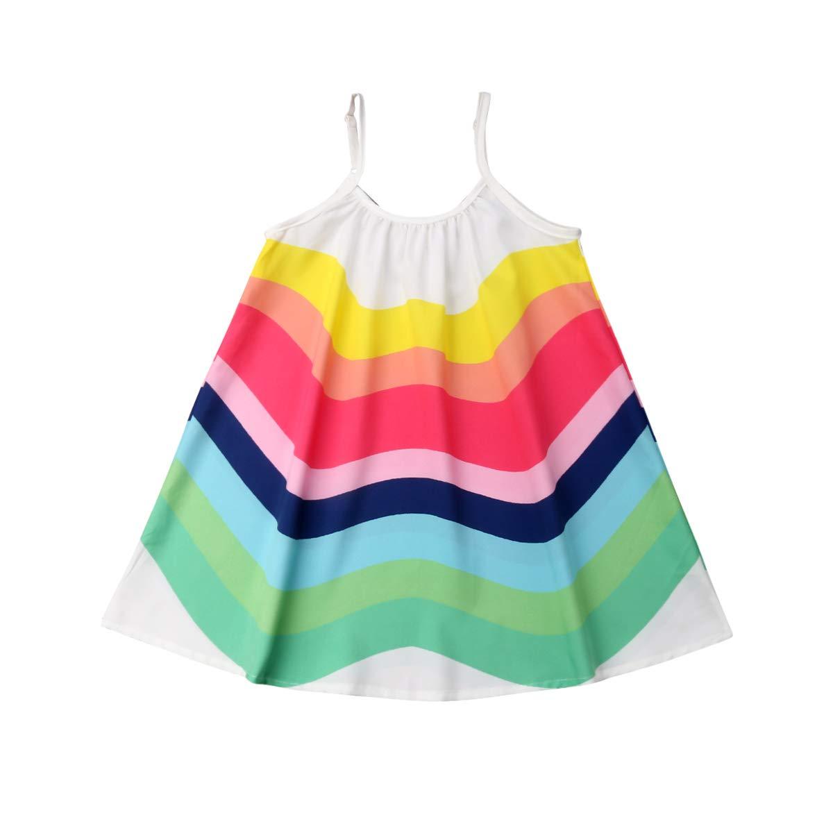 Toddler Baby Kid Girls Sleeveless Rainbow Dress Strap A-line Swing Princess Dress Sundress Summer Outfit 1-6Y