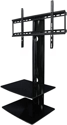 Swiveling TV Wall Mount with Two Shelves Shelf