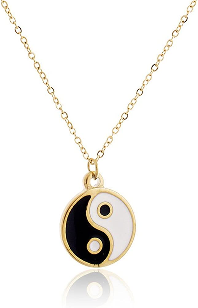 MANZHEN Gold Silver Yin Yang Pendant Necklace for Couples