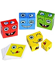 Wooden Expressions Matching Block Puzzles Face-Changing Cube Building Blocks Parent-Child Board Games Educational Montessori Toys Puzzle Toys for Kids Teens