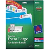 Avery® Extra-Large File Folder Labels in Assorted Colors for Laser and Inkjet Printers with  TrueBlockTM Technology, 15/16 inches  x 3-7/16 inches, Pack of 450 (5026)