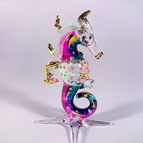 Sansukjai Seahorse Figurines Sea Animals Hand Painted Pink Blue Hand Blown Glass Art Gold Trim Collectible Gift - At Crossing Stores Downtown