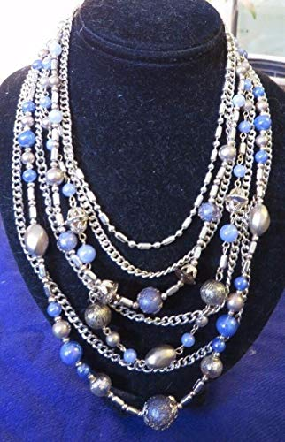 Vintage 7 Strand Bead Necklace Silvertone Blues Tans Signed JAPAN 15