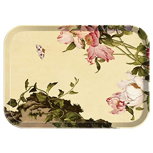 Xinxinchaoshi Tray Rectangular Household Fruit Plate Plastic Tea Tray European Storage Drain Tableware Water Cup Plate (Color : Yellow, Size : S) ()