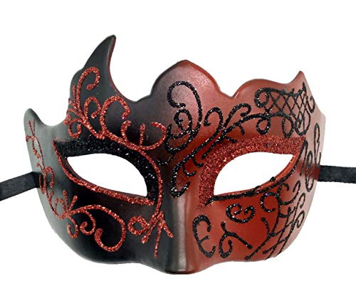 Biruil Masquerade Mask Venetian Costume Prom Party Mardi Gras Face Halloween Ball Mask (A Red) -