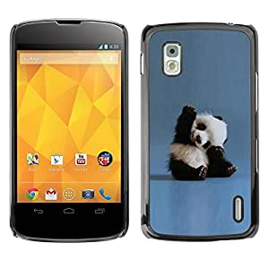 Impact Case Cover with Art Pattern Designs FOR LG Nexus 4 E960 Tiny Baby Panda Quote Blue China Animal Betty shop