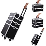 Professional Rolling Makeup Train Case,Portable Aluminum Rolling Cosmetic Case Jewelry Organizer Travel Brush Bag Holder with DIY Adjustable Divider&Key Lock,3-in-1 Artist Trolley Caster Box Bin