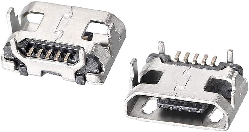 sourcing map 10Pcs Micro USB Connecteur femelle 5 broche remplacement adaptateur 180 degr/é