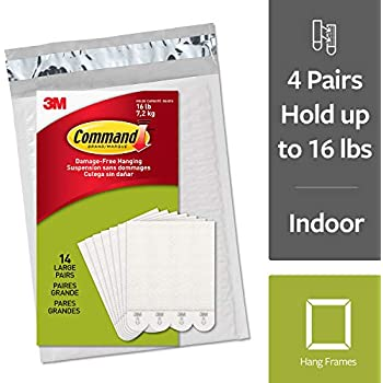 Command Damage-Free Large Picture Hanging Strips, White, 4 pairs hold 16 pounds, Decorate and Hang Damage-Free, Indoor, Gallery Wall Pack