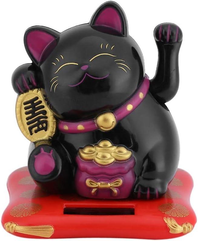 Maneki Neko Fortune Cat - Lucky Cat Car Decor Solar PoweredWealth Welcoming Cute Cat with Waving Arm Home Display Black