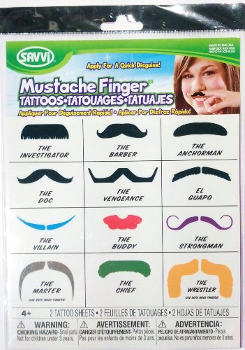 Savvi Mustache Finger Temporary Tattoos