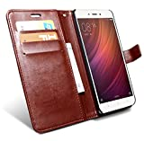 HOM Wallet Book Design Phone Case with Flip Cover and Credit Card Slot Magnetic Closure, Stand View Case For Xiaomi Redmi Note 4 - Brown Colour
