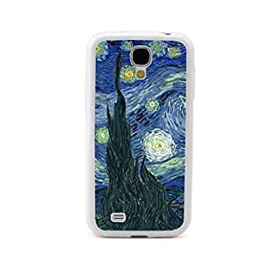 Super JMM - The Starry Night Vincent van Gogh Painting Design White Bumper Hybrid Plastic + TPU/Silicone Rubber Cell Mobile Phone Cases Skin Cover/Accessories for Samsung Galaxy S 4 S4 SIV S IV I9500 Andorid (Verizon, AT&T Sprint, T-mobile, Unlocked)