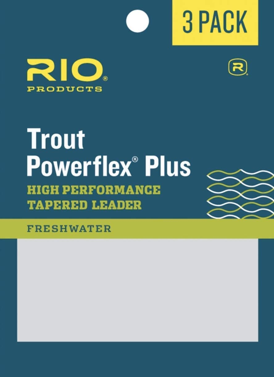 RIO Fly Fishing Power flex-Plus 9' 4X Fishing Leaders, Clear, Pack of 3