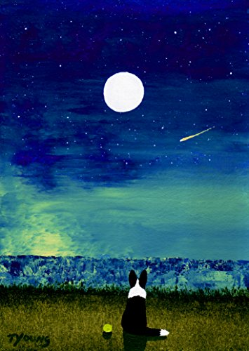 Border Collie Dog Seascape Reproduction Art Print by Todd Young MOON RISE