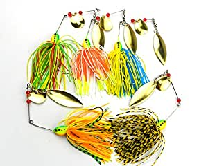 MELIP lures Fishing Hard Spinner Lure Spinnerbait Pike Bass 5 pac (16.3g/0.57oz)