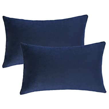 WLNUI Set of 2 Rectangle Soft Velvet Solid Navy Blue Decorative Oblong Lumbar Throw Pillow Covers Set Cushion Case for Sofa Couch Home Decor 12x20 Inch 30x50 cm