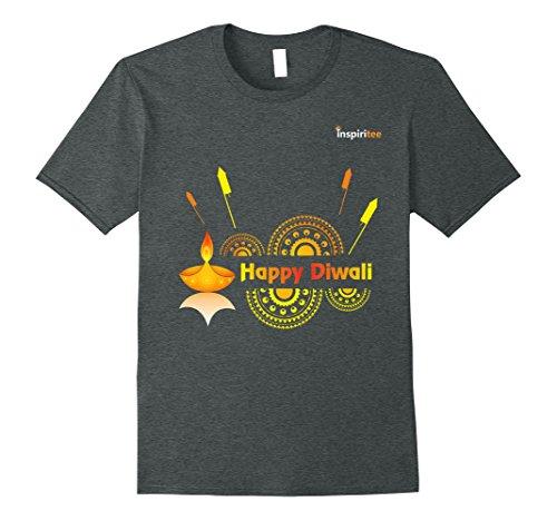 Mens Inspiritee - Happy Diwali - T Shirt 3 XL Dark Heather by Inspiritee