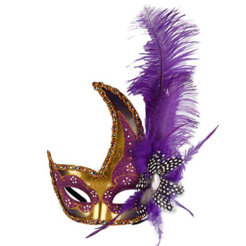 Venetian Masquerade Masks Mardi Gras Costume with Feather