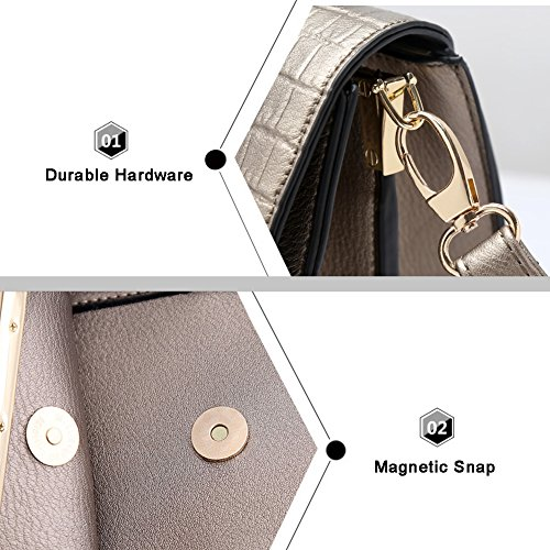 Yoome Crocodile Pattern Top Handle Handtaschen Vintage Elegant Taschen Für Charm Damen Geldbörse Geldbörse - Gold