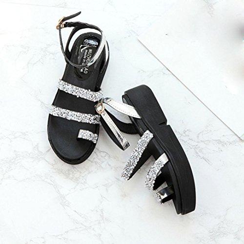 Di scarpe Estate Sandali Moda Scarpe Donna Argento Piatto Strass Gladiatore Koly 1F87qq