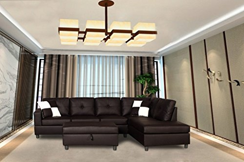 Legend 3 Piece Faux Leather Left-Facing Sectional Sofa Set with Free Storage Ottoman, Brown (Brown Leather Sectional Sofa)