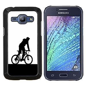 LECELL--Funda protectora / Cubierta / Piel For Samsung Galaxy J1 J100 -- Minimalista bicicletas jinete --