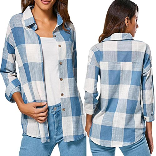 Clearance! Taore Women's Check Plaid Casual Loose Shirts Long Sleeve T Shirt Tops Blouse (US12=TagXL, S-Blue)