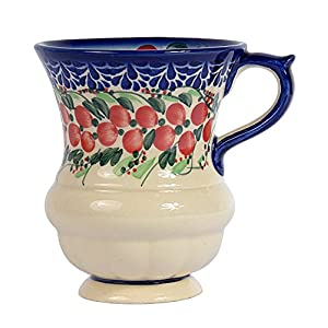 Traditional Polish Pottery, Handcrafted Ceramic Goblet Mug (300ml / 10.5 fl oz), Boleslawiec Style Pattern, Q.701.CRANBERRY