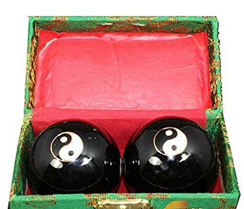 japanbargain s-3581, chinese stress relieve hand exercise baoding balls, blue