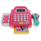MonkeyJack Pretend Play Set Electronic Cash Register Kids Realistic Actions Hands-on Toy with Scanner and Play Money Games Pink
